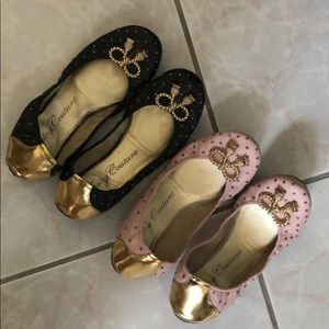2Pair Juicy Couture Leather Studded Bow Flats 8